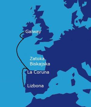 Trasa rejsu: Lizbona - Porto - La Coruna - Limerick -Galway (1200 Mm)