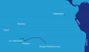Trasa rejsu: Wyspa Wielkanocna - Pitcairn - Wyspy Gambiera (Polinezja Francuska) (1500 Mm)