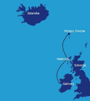 Trasa rejsu: Galway - Stornoway - Wyspy Owcze (600 Mm)