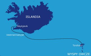 Trasa rejsu: Wyspy Owcze - Vestmannaeyjar - Islandia (600 Mm)