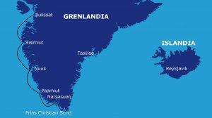 Trasa rejsu: Narsasuaq - Paamiut - Nuuk - Sisimiut - Ilulissat (700 Mm)